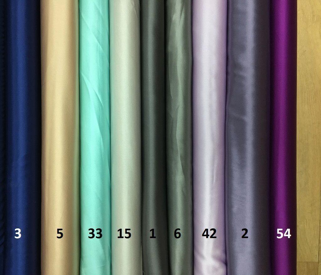 Атласный шелк в ассортименте разных цветов (шелк 95%, эл. 5%), ширина 130-140 см. купить в магазине Все ткани